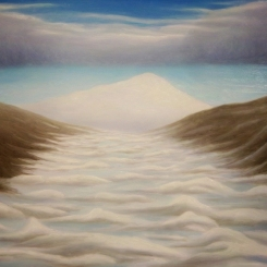 Erebus and Pressure Ridges, oil on mylar, 5.5 x 7 inches, 2012.
