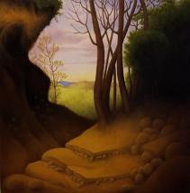 """Three Philosophers, oil on wood, 12"""" x 12"""", 2007."""