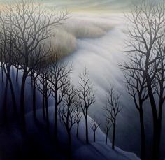 """Black Trees, oil on wood, 12"""" x 12"""", 2004."""