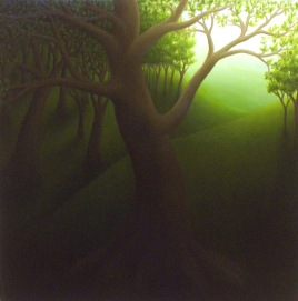 """Clearing, oil on wood, 12"""" x 12"""", 2004."""