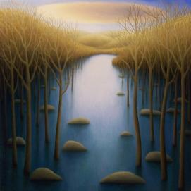 """Flood, oil on wood, 12"""" x 12"""", 2008."""