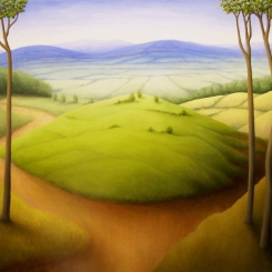 "Four Trees, oil on wood, 14"" x 16"", 2007."