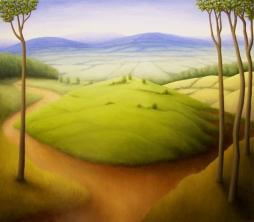 "Four Trees, oil on wood, 14"" x 16"", 2007."