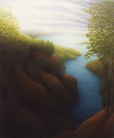 "German River, oil on wood, 12"" x 10"", 2006."