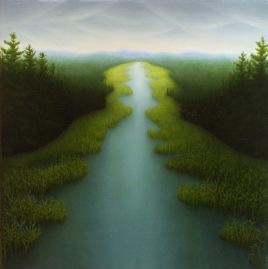 "Grassy Lake, oil on wood, 14"" x 14"", 2004."