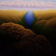 """Homage 2, oil on wood, 12"""" x 12"""", 2006."""