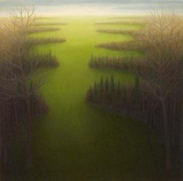 "Hunting Fields, oil on wood, 14' x 14"", 2004."