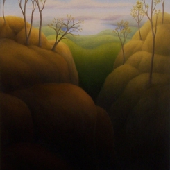 "Untitled (lake view III), oil on wood, 11"" x 8.5"", 2009."
