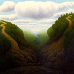 "The Long Trail, oil on wood, 12"" x 12"", 2004."