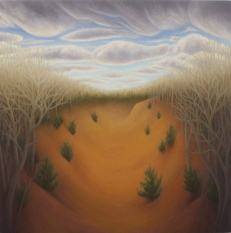 """Orange Afternoon, oil on wood, 12"""" x 12"""", 2006."""