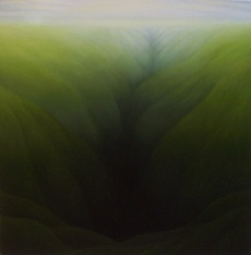 "Green Ditch, oil on wood, 12"" x 12"", 2004."
