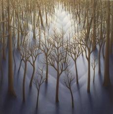 "Winter Woods, oil on wood, 12"" x 12"", 2006."