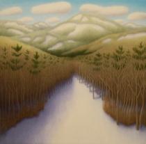 "Near Hoffman, oil on wood, 12"" x 12"", 2007."