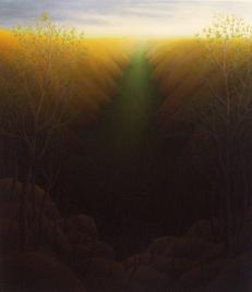 "Orange Canyon, oil on wood, 14"" x 12"", 2004."