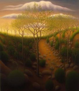 "Untitled (orange rocky road), oil on wood, 16"" x 14"", 2008."