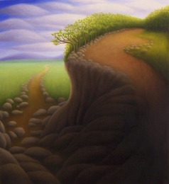 """Untitled (road-rocks), oil on wood, 11.5"""" x 10.5"""""""