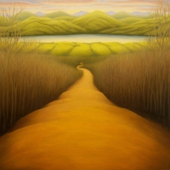 "Road to Lake, oil on wood, 12"" x 12"", 2007."