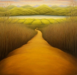 """Road to Lake, oil on wood, 12"""" x 12"""", 2007."""