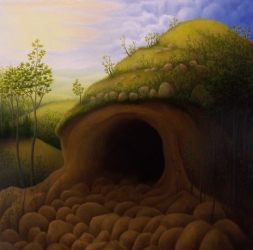 "Untitled (cave II), oil on wood, 12"" x 12"", 2007."