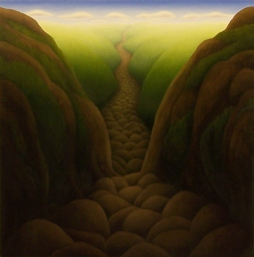 """Untitled (rocky valley), oil on wood, 12"""" x 12"""", 2008"""