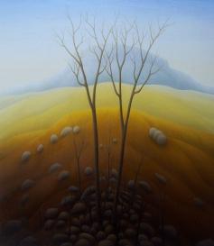 """Round Mountain, oil on wood, 16"""" x 14"""", 2005."""