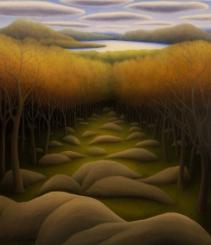 "Severance Hill, oil on wood, 16"" x 14"", 2007."