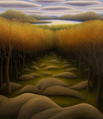 "Severance Hill, oil on wood, 16"" x 14"", 2007."