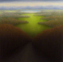 "Small Pond, oil on wood, 12"" x 12"", 2005."