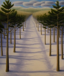"Snow Path I, oil on wood, 12"" x 10"", 2008."