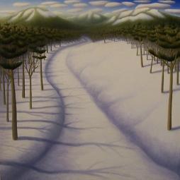 """Snow Path II, oil on wood, 12"""" x 12"""", 2008."""