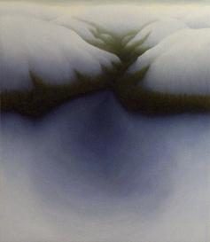 "Snow Valley, oil on wood, 14"" x 12"", 2005."