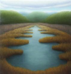 "Spring Marsh, oil on wood, 12"" x 12"", 2005"