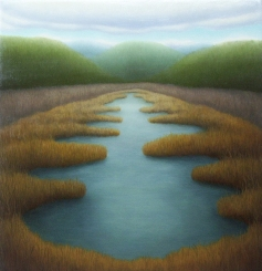 "Spring Marsh, oil on wood, 12"" x 12"", 2005"