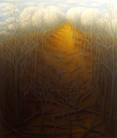 "Tangled Hill I, oil on wood, 14"" x 12"", 2005."