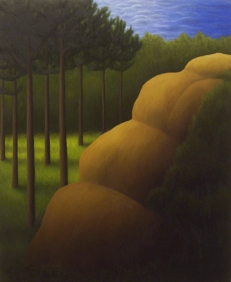 """The Yellow Rock, oil on wood, 12"""" x 10"""", 2006."""