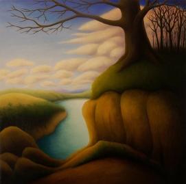 "Tree Over Water II, oil on wood, 12"" x 12"", 2008."