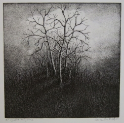 "Untitled, dry point, etching, aquatint and ink, 9"" x 9"""