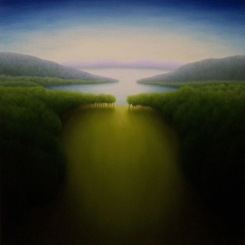 "Untitled (water-field), oil on wood, 11"" x 10.5"", 2009."