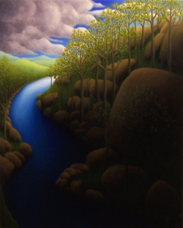 "Untitled (winding water), oil on wood, 14"" x 11, 2009."
