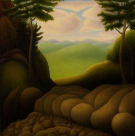 """Untitled, oil on wood, 14"""" x 14"""", 2008."""