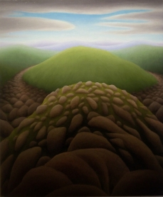 "Untitled (Rocky Hill), oil on wood, 14"" x 12"", 2010."