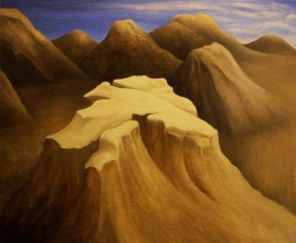 "Untitled (Craggy Hills), oil on wood, 10"" x 12"", 2007."