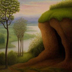 "Untitled - Cave, oil on wood, 6"" x 6"", 2007."