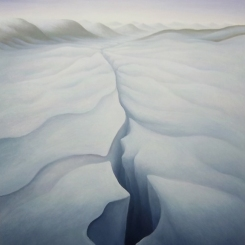 Antarctica - Ice Crack I, oil on wood, 14 x 12 inches, 2012.