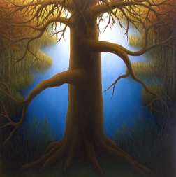"Untitled (Dead Pine), oil on wood, 12"" x 12"""