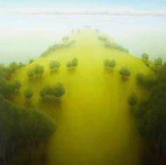 """Peaked Hill, oil on wood, 14"""" x 14"""", 2005."""