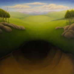"Untitled (ground hole), oil on wood, 12"" x 12"", 2009."