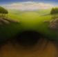 "Untitled (ground hole), oil on wood, 12"" x 12"""