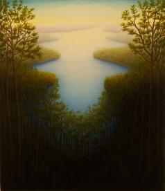 """Untitled (Lake thru trees), oil on wood, 12"""" x 12"""""""