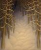 """Untitled (light on snow trail),  oil on wood,  10"""" x 8"""""""
